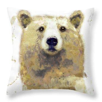 Golden Forest Bear Throw Pillow