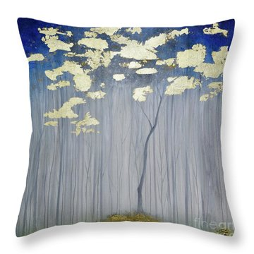 Throw Pillow featuring the painting Golden Forest by Mary Scott