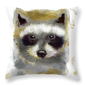 Golden Forest Raccoon  Throw Pillow