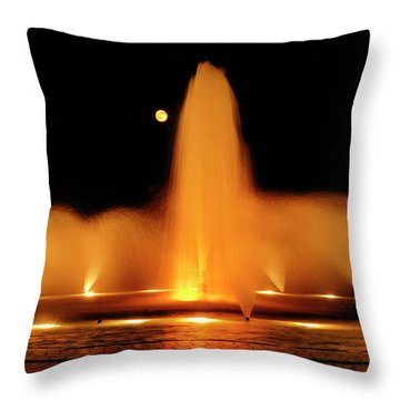 Throw Pillow featuring the photograph Golden Fountain by Howard Bagley