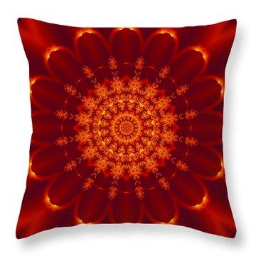 Golden Fractal Mandala Daisy Throw Pillow
