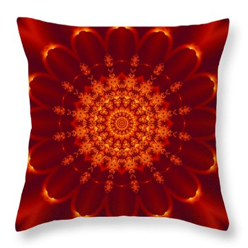 Golden Fractal Mandala Daisy Throw Pillow