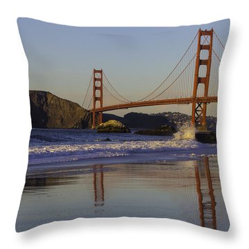 Golden Gate And Waves Throw Pillow