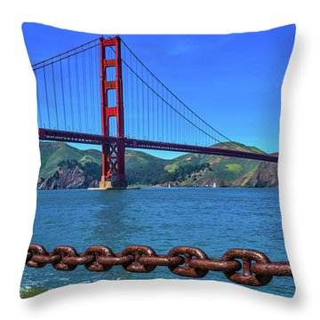 Golden Gate Bridge And Chain Throw Pillow