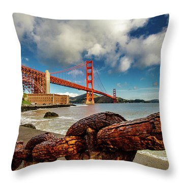 Throw Pillow featuring the photograph Golden Gate Bridge And Ft Point by Bill Gallagher