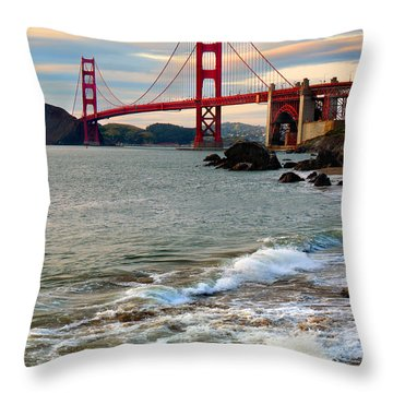 Golden Gate Bridge And The Pacific Ocean At Sunset With Waves Throw Pillow by Wernher Krutein