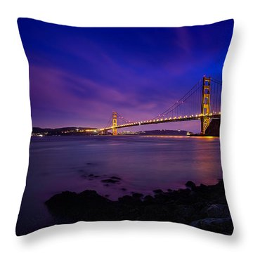 Golden Gate Bridge At Night Throw Pillow