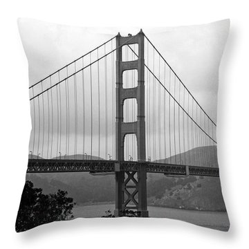 Golden Gate Bridge- Black And White Photography By Linda Woods Throw Pillow