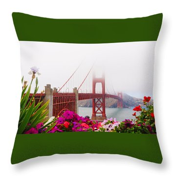 Golden Gate Bridge Flowers 2 Throw Pillow