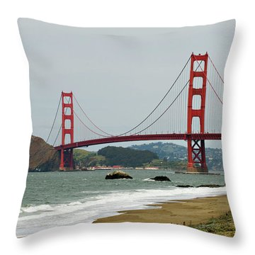 Golden Gate Bridge From Baker Beach Throw Pillow