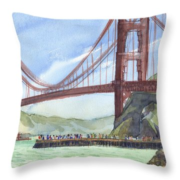 Throw Pillow featuring the painting Golden Gate Bridge From Fort Baker, Ca by Judith Kunzle