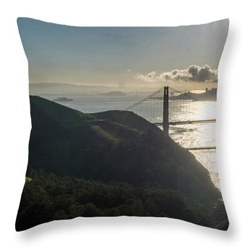 Golden Gate Bridge From The Road Up The Mountain Throw Pillow