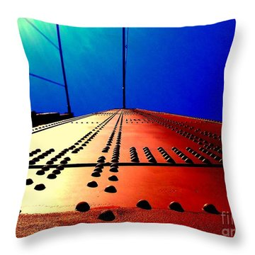 Golden Gate Bridge In California Rivets And Cables Throw Pillow by Michael Hoard