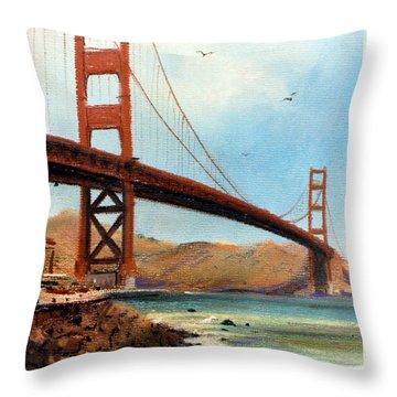 Golden Gate Bridge Looking North Throw Pillow by Donald Maier