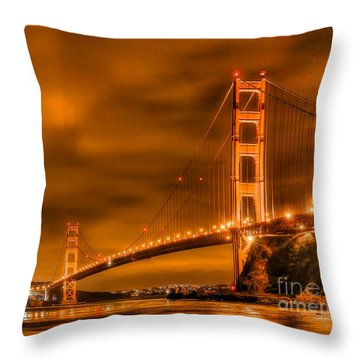 Throw Pillow featuring the photograph Golden Gate Bridge - Nightside by Jim Carrell