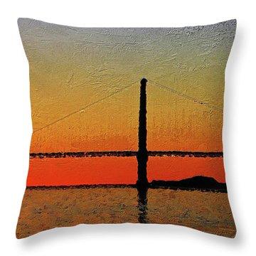 Throw Pillow featuring the digital art Golden Gate Bridge Panoramic by PixBreak Art