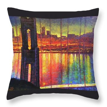 Golden Gate Bridge Throw Pillow by Raffi Jacobian