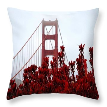 Golden Gate Bridge Red Flowers Throw Pillow