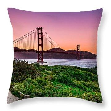 Golden Gate Bridge San Francisco California At Sunset Throw Pillow