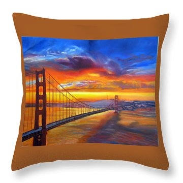 Golden Gate Bridge Sunset Throw Pillow by LaVonne Hand