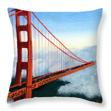 Golden Gate Bridge Sunset Throw Pillow