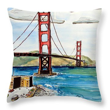 Throw Pillow featuring the painting Golden Gate Bridge by Terry Banderas