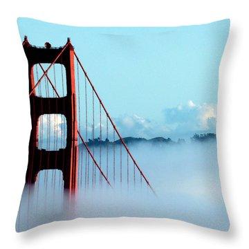 Golden Gate Bridge Tower Fog Antenna Throw Pillow by Jeff Lowe
