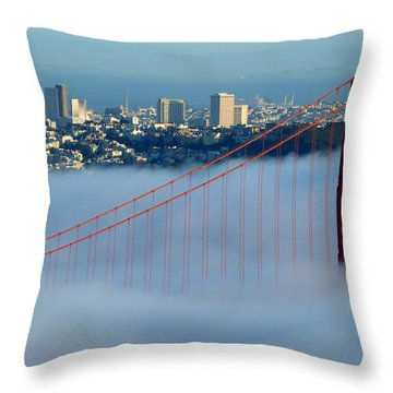 Golden Gate Bridge Tower In Sunshine And Fog Throw Pillow by Jeff Lowe