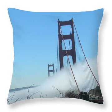 Golden Gate Bridge Towers In The Fog Throw Pillow