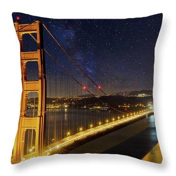 Golden Gate Bridge Under The Starry Night Sky Throw Pillow by David Gn