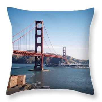 Golden Gate Bridge With Aircraft Carrier Throw Pillow