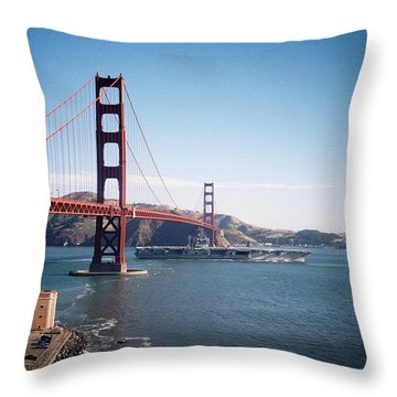 Golden Gate Bridge With Aircraft Carrier Throw Pillow