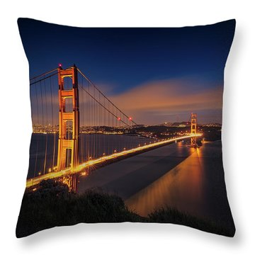 Golden Gate Throw Pillow by Edgars Erglis