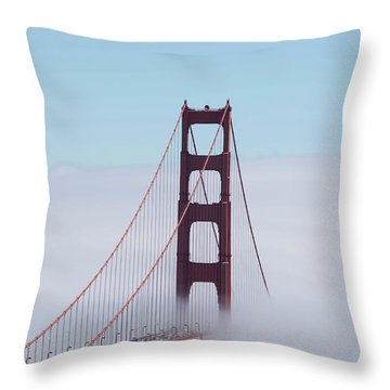 Throw Pillow featuring the photograph Golden Gate Fogged - 3 by David Bearden
