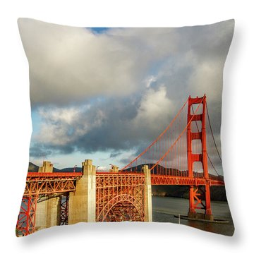 Throw Pillow featuring the photograph Golden Gate From Above Ft. Point by Bill Gallagher