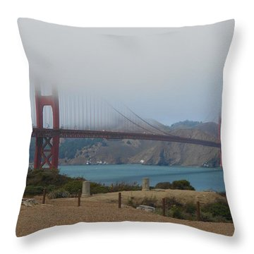 Golden Gate In The Clouds Throw Pillow