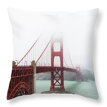 Golden Gate In The Fog Throw Pillow