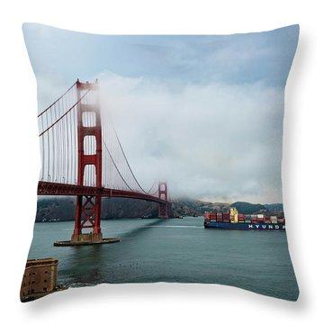 Golden Gate Ship Throw Pillow