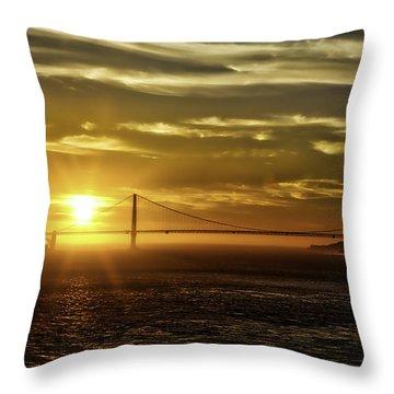 Throw Pillow featuring the photograph Golden Gate Sunset by Chris Cousins