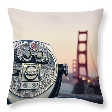 Throw Pillow featuring the photograph Golden Gate Sunset - San Francisco California Photography by Melanie Alexandra Price