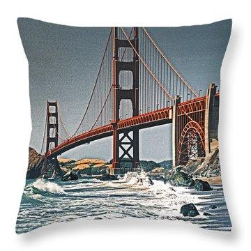 Golden Gate Surf Throw Pillow by Dennis Cox WorldViews