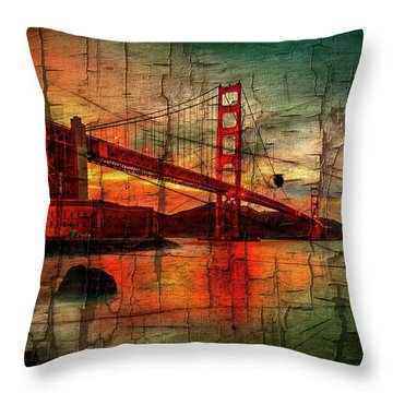 Golden Gate Weathered Throw Pillow