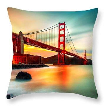 Golden Gateway Throw Pillow by Az Jackson