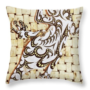 Throw Pillow featuring the painting Golden Gecko by J- J- Espinoza