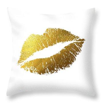 Gold Lips Throw Pillow