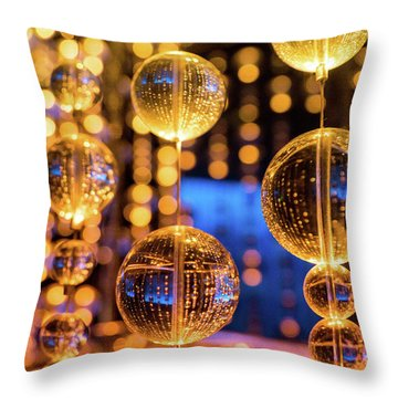 Golden Glass Bubbles Throw Pillow
