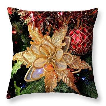 Golden Glitter Christmas Ornaments Throw Pillow