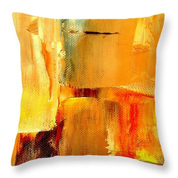 Golden Glow Abstract Square Throw Pillow