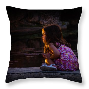 Golden Glow Girl Throw Pillow