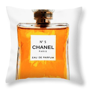 Golden Glow Of Chanel No. 5 Throw Pillow